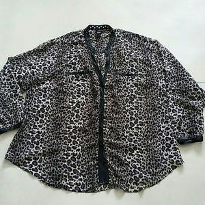 TORRID leopard print spiked neckline sheer blouse